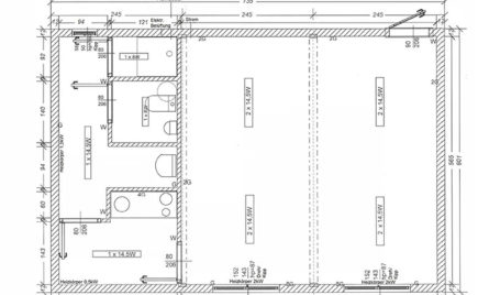 Doppel Wohncontainer/Bürocontainer DB2.3 Skizze