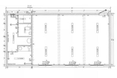 Doppel Wohncontainer/Bürocontainer DB2.4 Skizze