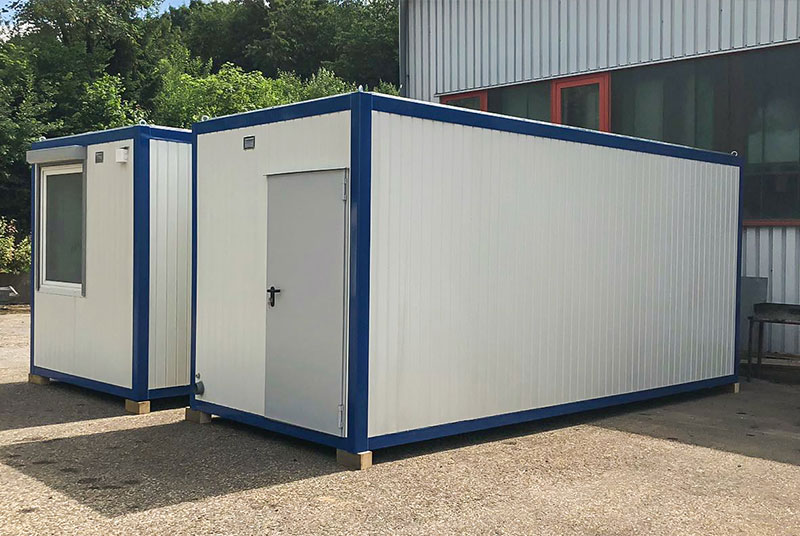 Wohncontainer W1 (14,7m²) (mit Hochbett, Esstisch, Bad und ...
