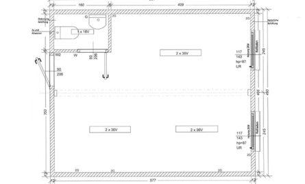 Doppel Wohncontainer/Bürocontainer DB2.2 Skizze
