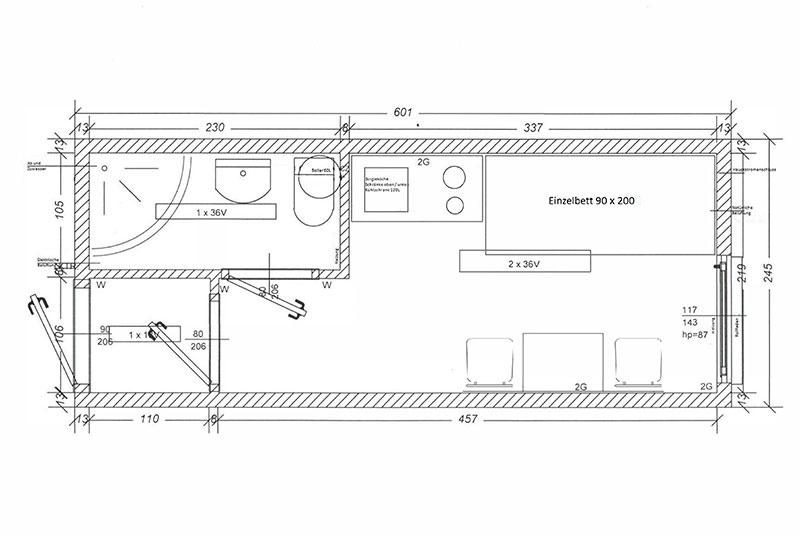 Wohncontainer W1 (mit Hochbett, Esstisch, Bad und Küche) | Conliving ...