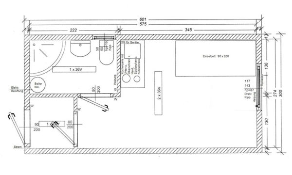Wohncontainer kaufen - W4 - Skizze