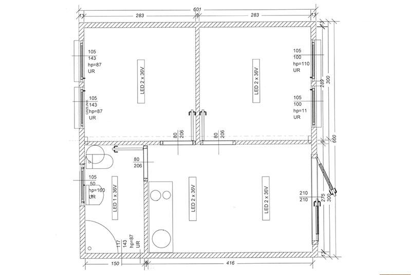 Wohncontainer W5 (36m²) (3 Zimmer + Bad) | Conliving GmbH