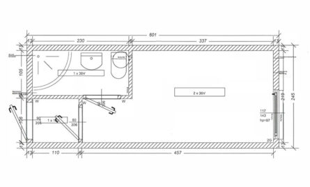 Bürocontainer BC4 Skizze